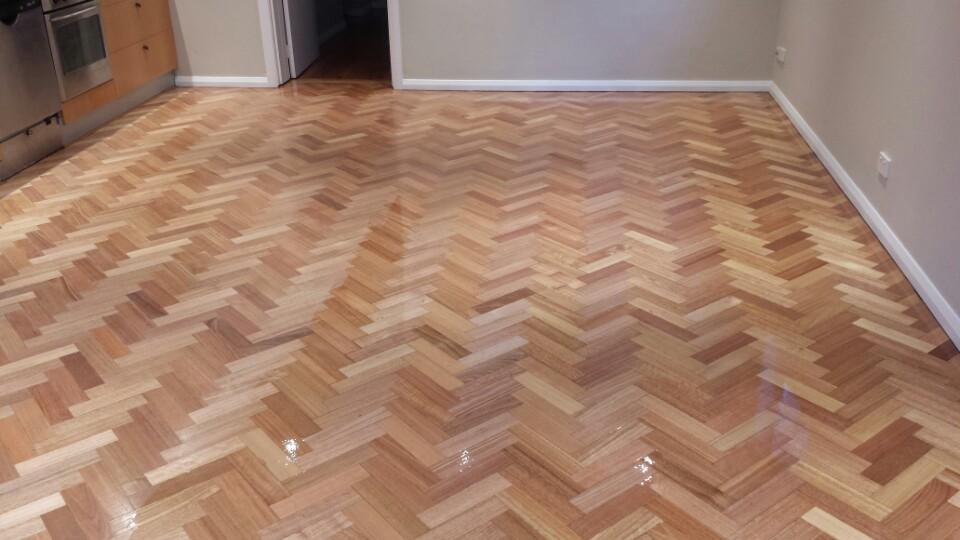 sanded and resealed parquetry flooring