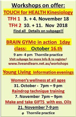 workshops on offer