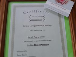 Certification from Central Springs School of Massage.  Indian Head Massage 2018. Half hour appointments available to you at $65.